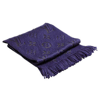 LV M75703 Monogram LOGO MANIA 羊毛針織圍巾(紫羅蘭色)