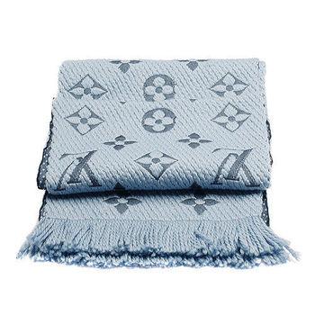 LV M75702 Monogram LOGO MANIA 羊毛針織圍巾(矢車菊藍)