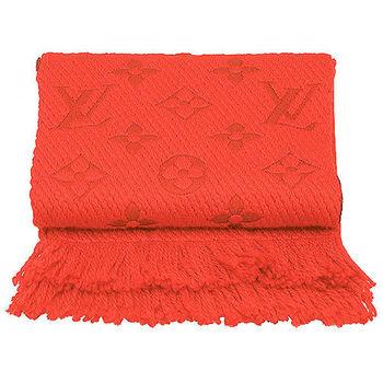 LV M75701 Monogram LOGO MANIA 羊毛針織圍巾(珊瑚紅)