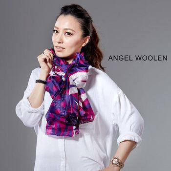 【ANGEL WOOLEN】銀絲柔光蠶絲披肩(桃紅)