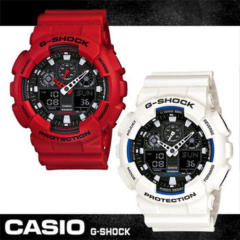 【CASIO 卡西歐 G-SHOCK 系列】重型戰艦雙顯運動錶(GA-100B)