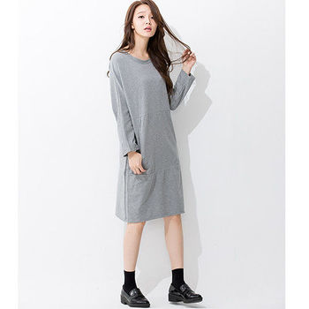 iima 視覺寬版連袖洋裝(灰)