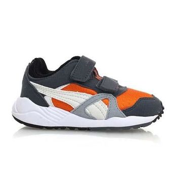【PUMA】XS 500 KIDS 男女中童慢跑鞋-童鞋 運動鞋 灰橘白