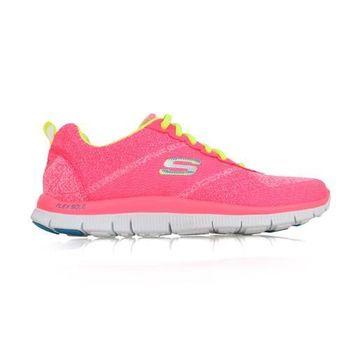 【SKECHERS】FLEXAPPEAL 女慢跑鞋 - 路 粉紅螢光黃
