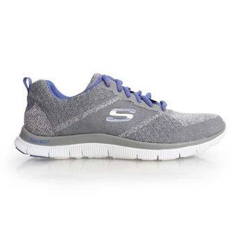 【SKECHERS】FLEXAPPEAL 女慢跑鞋 - 路 灰藍