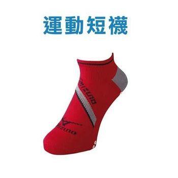 【MIZUNO】日製-男運動短襪-防滑 襪子 美津濃 日本製 紅黑
