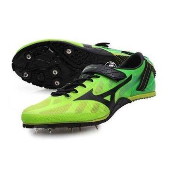 【MIZUNO】GEO SPRINT 2 男女田徑釘鞋 短跑 跨欄 螢光綠黑