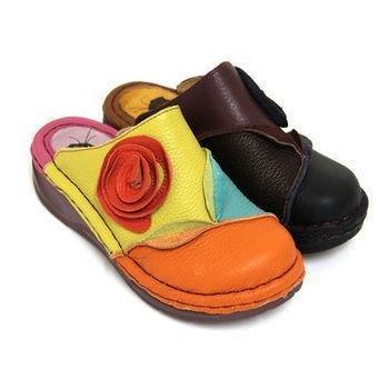 【GREEN PHOENIX】素雅經典多彩撞色隨性剪裁花朵手縫全真皮前包後空氣墊厚底拖鞋-橙色、黑色