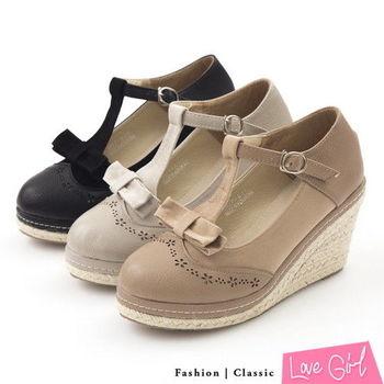 ☆Love Girl☆通勤百搭-異材質拼接蝴蝶結T字環裸楔型跟鞋