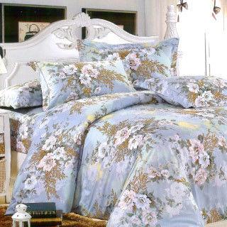 【R.Q.POLO】白色戀人-藍 新絲柔印花系列/雙人加大薄被套床包四件組(6X6.2尺)