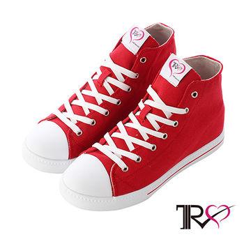 【TRS】增高7cm經典款休閒氣墊帆高筒布鞋 紅(7100-0015)