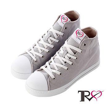 【TRS】增高7cm經典款休閒氣墊帆高筒布鞋 灰(7100-0014)