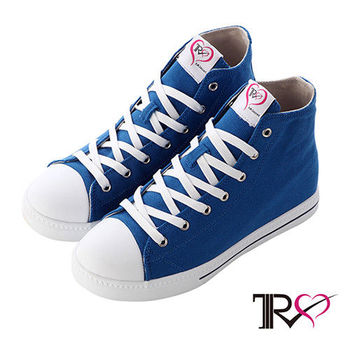 【TRS】增高7cm經典款休閒氣墊帆高筒布鞋 藍(7100-0013)