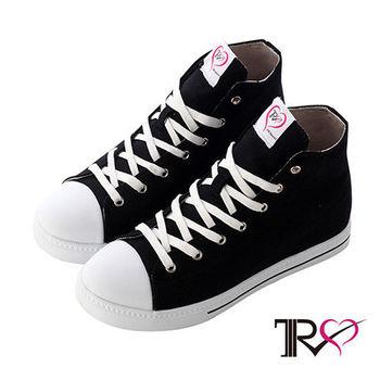 【TRS】增高7cm經典款休閒氣墊帆高筒布鞋 黑(7100-0012)