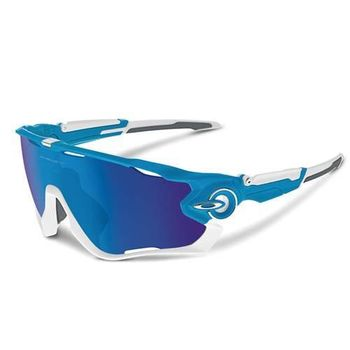 【OAKLEY】JAWBREAKER 太陽眼鏡 附硬盒 鼻墊 登山 自行車 寶藍白