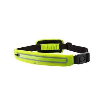 【NIKE】擴充式薄型腰包-附小袋 手機包 慢跑 路跑 螢光綠銀