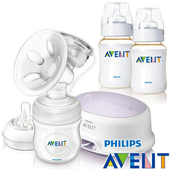 PHILIPS AVENT 輕乳感PP標準型單邊電動吸乳器+經典PES防脹氣奶瓶260ml雙入(超值組)