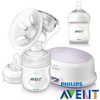PHILPS AVENT 輕乳感PP標準型單邊電動吸乳器+親乳感PP防脹氣奶瓶125ml(單入)