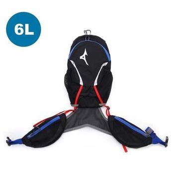 【MIZUNO】6L運動後背包-登山 旅行 單車 自行車 雙肩包 黑藍紅