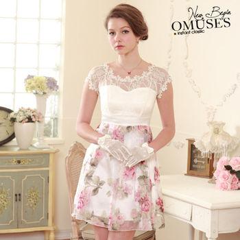 【OMUSES】蕾絲摟空宴會洋裝28-6955(S-XL)