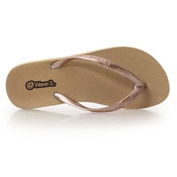 【WAVE3】女蕾絲平底人字拖-拖鞋 夾腳拖 台灣製 金