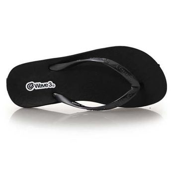 【WAVE3】女蕾絲平底人字拖-拖鞋 夾腳拖 台灣製 黑