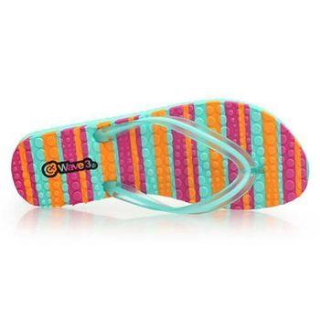 【WAVE3】雙色果凍 女人字拖-夾腳拖 拖鞋 海邊 戲水  粉紅橘淺綠