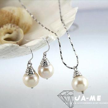 【JA-ME】天然正圓珍珠925純銀圓滿項鍊耳環套組