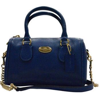 【COACH】橢圓鐵牌皮革迷你兩用波士頓包(藍)