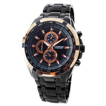 【CURREN】時尚潮流款豪邁霸氣仿三眼計時造型腕錶-黑 FFQ-8023