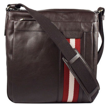 BALLY 6189544 都會質感全皮革雙色織帶中性斜背包.深咖
