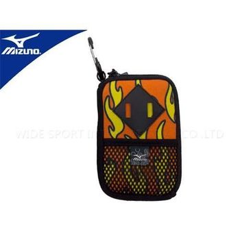 【MIZUNO】數位包-網袋 附扣環 防護包 手機袋  橘黃