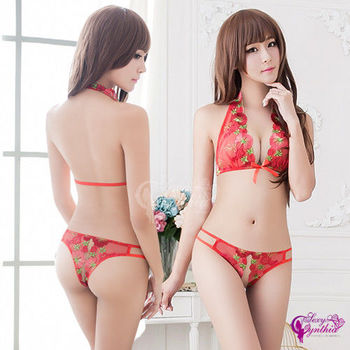 【Sexy Cynthia】情趣內衣 媚紅刺繡繞頸比基尼二件組