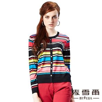 麥雪爾 排扣造型彩色條紋針織上衣