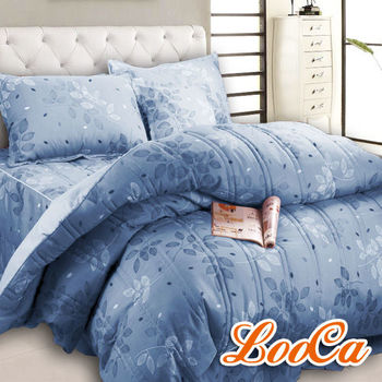 LooCa 典雅彩葉六件式鋪棉床罩組(藍)-雙人
