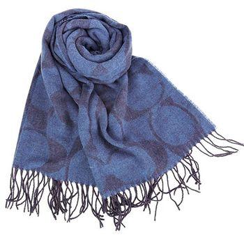COACH 經典LOGO流蘇羊毛圍巾(藍)