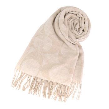 COACH 經典LOGO流蘇羊毛圍巾(卡其)