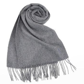YSL 長版刺繡LOGO羊毛披肩/圍巾(灰)
