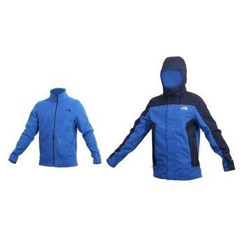 【THE NORTH FACE】男 HV刷毛兩件式外套-登山 保暖 防風  藍丈青