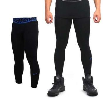 【NIKE】PRO 男彈力緊身長褲-緊身褲 慢跑 路跑 黑藍