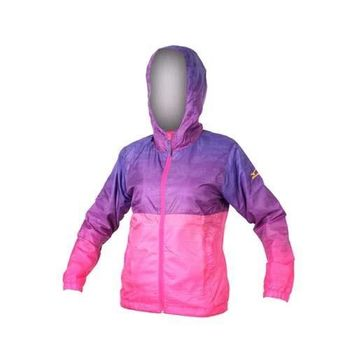 【MIZUNO】女半長風衣- 防風 連帽外套 美津濃 紫桃紅