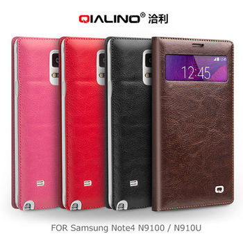 【QIALINO】 SAMSUNG Note 4 N9100/N910U 小窗經典背蓋皮套