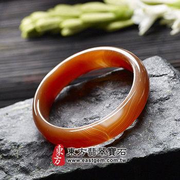 【東方翡翠寶石】天珠紅瑪瑙玉髓手鐲玉鐲(紅帶白紋理,微透光,圓鐲#18)RM002