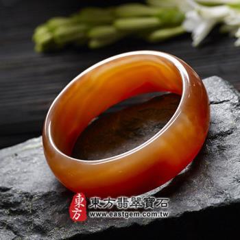 【東方翡翠寶石】天珠紅瑪瑙玉髓手鐲玉鐲(紅色,微透光,圓鐲#18.5)RM004