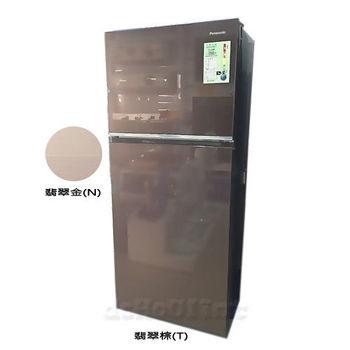 國際牌422公升ECO NAV玻璃鏡面雙門冰箱NR-B427TG