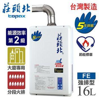 【莊頭北】16L數位恆溫分段火排水量強制排氣熱水器/TH-7167AFE(NG1/FE式天然瓦斯)