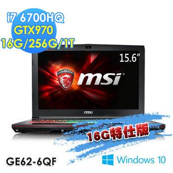 MSI 微星 GE62 6QF-015TW 15吋FHD i7-67000HQ 獨顯GTX970 電競筆電 16G特仕版