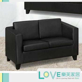 LOVE樂芙 K01西皮黑色皮雙人座沙發
