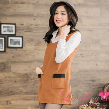 【lingling】假兩件式襯衫接刷毛口袋撞皮革小洋裝(自信卡其)A2631-02