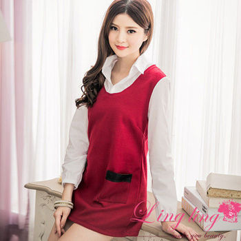 【lingling】假兩件式襯衫接刷毛口袋撞皮革小洋裝(優雅棗紅)A2631-01